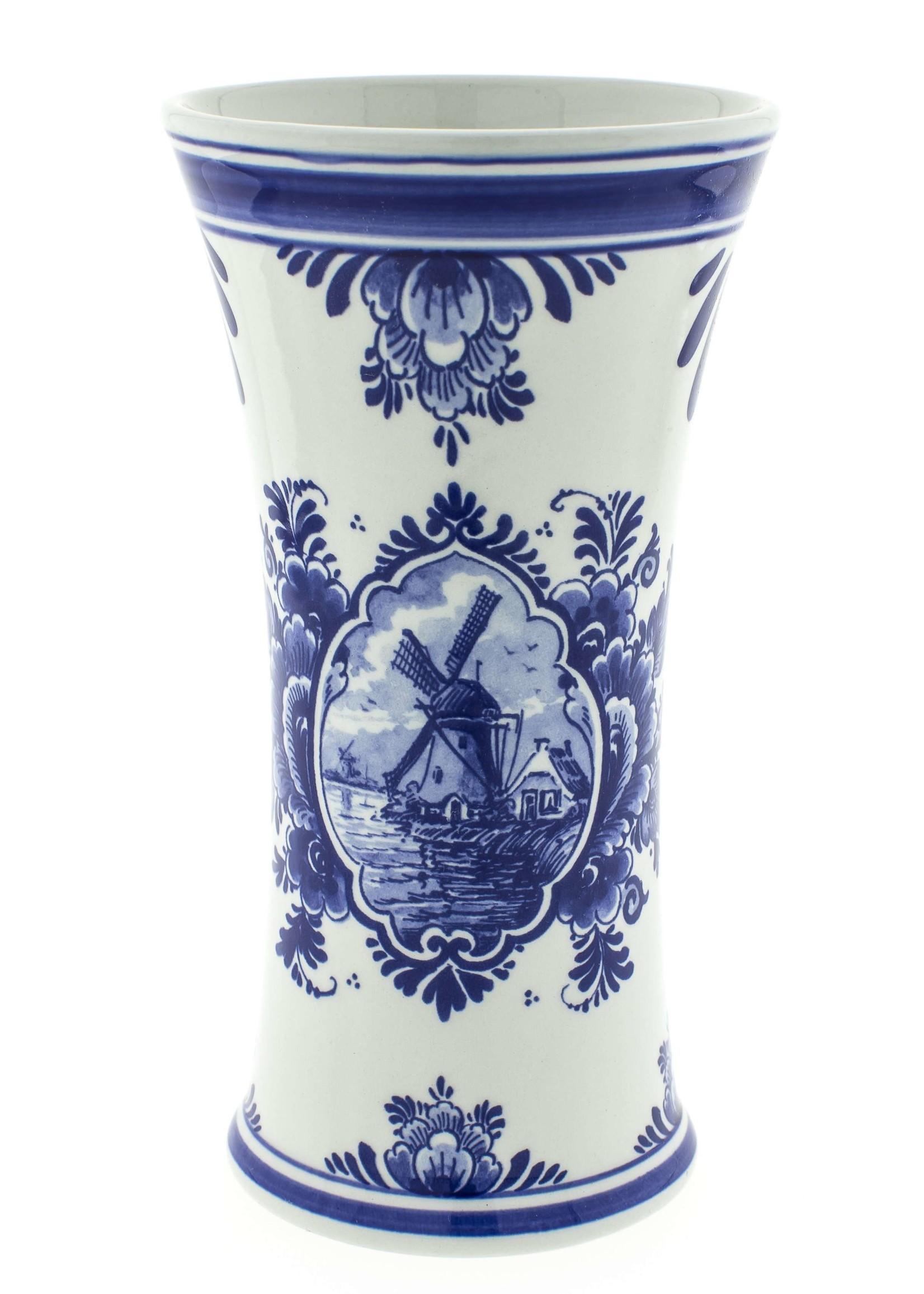 Delfts Blauwe Kelk Vaas met een Windmolen en een Delfts Blauw Bloemmotief, Groot