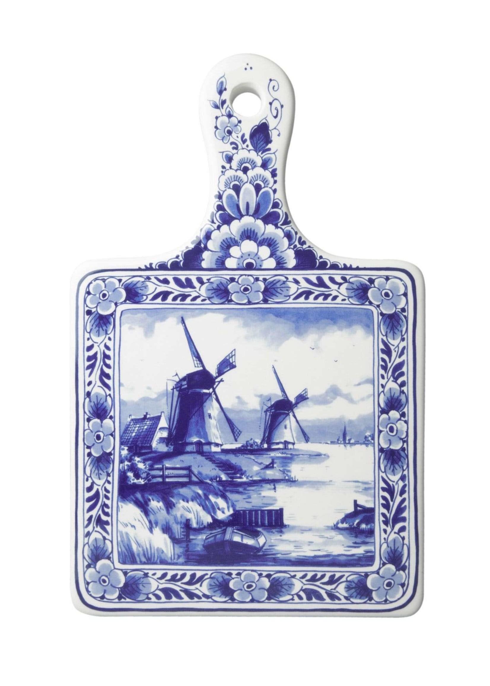Delfts Blauwe Kaasplank met Windmolens, Groot