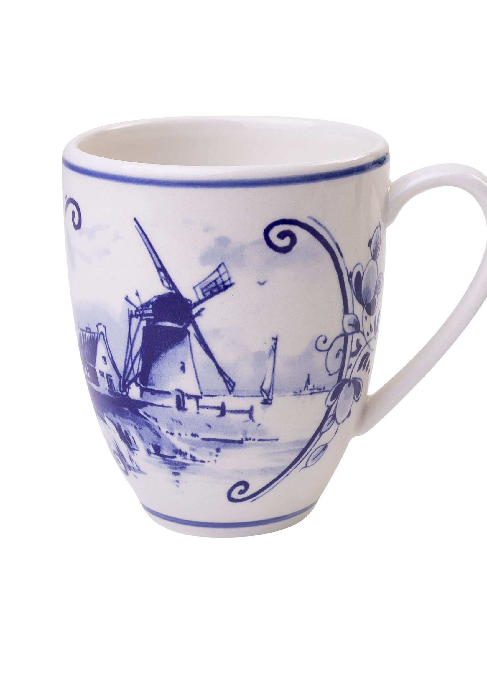 Delfts Blauwe Koffiemok met een Hollands Landschap met een Windmolen 2