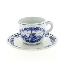 Delft Blue Cup and Saucer with Windmill and Flower Motif