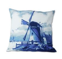 Delfts Blauwe Kussenhoes met een Windmolen