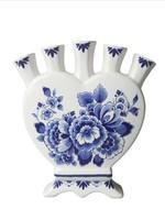 Delft Blue Heartshaped Tulip Vase, Landscape and Floral Design,