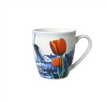 Delft Blue Mug, Dutch landscape with a Windmill and Tulips, Small
