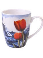 Delft Blue Mug, Dutch landscape with a Windmill and Tulips, 300 ml / 10,1 oz