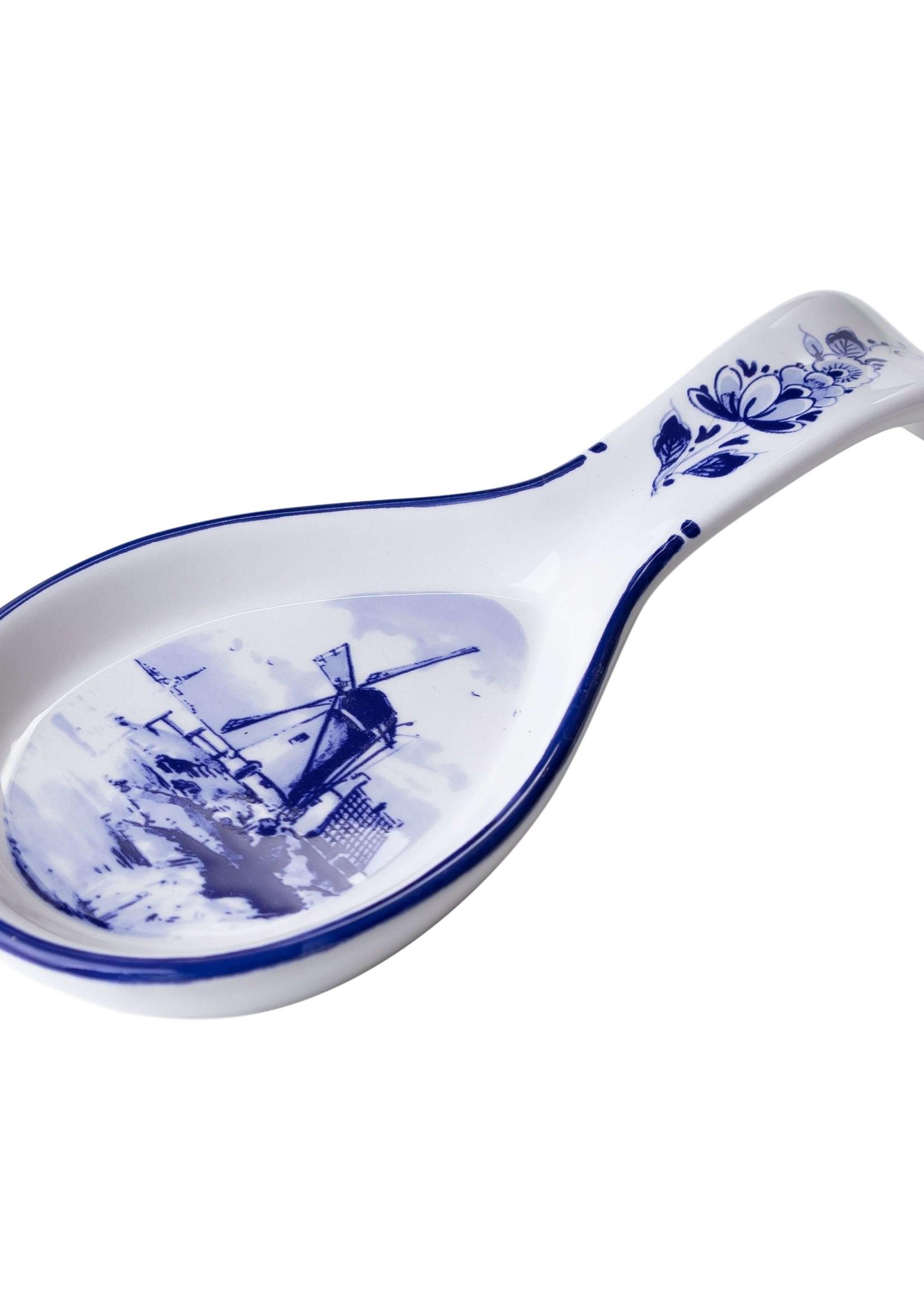 Delfts Blauwe Lepelrust met een Windmolen