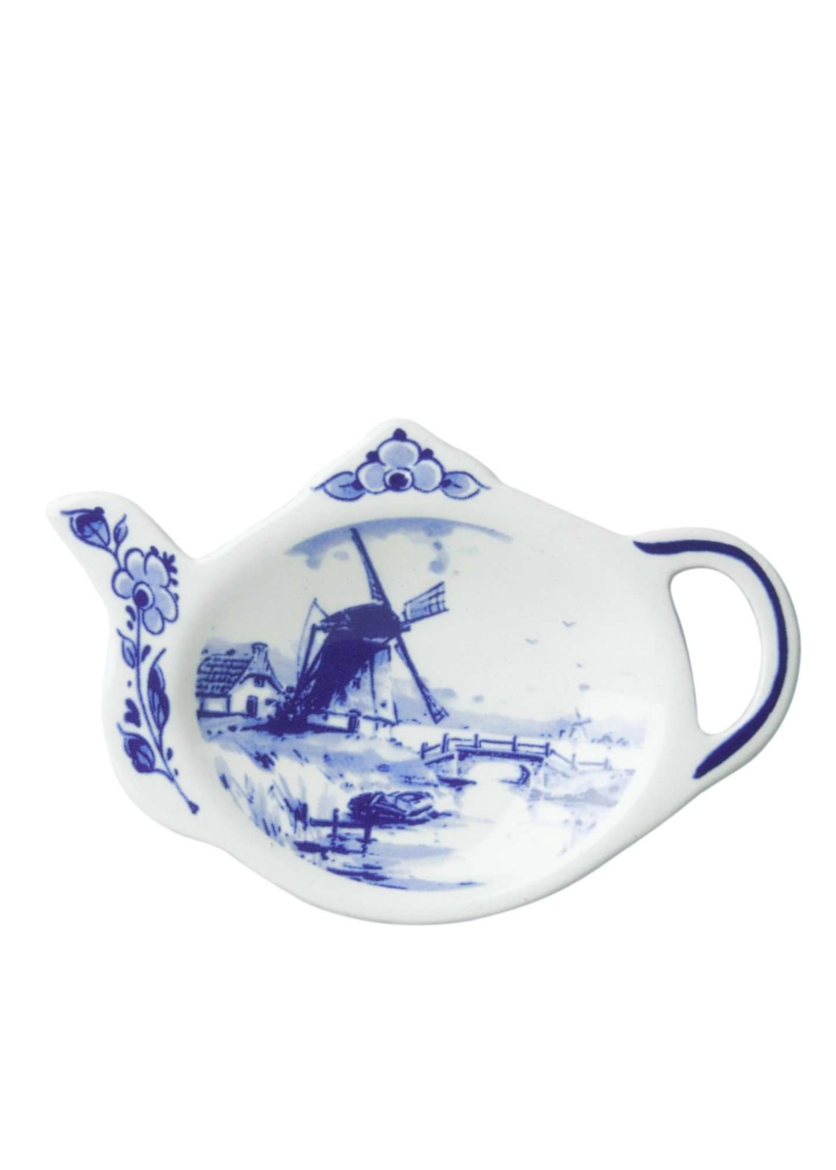Delft Blue Tea Bag Holder in the Shape of a Teapot