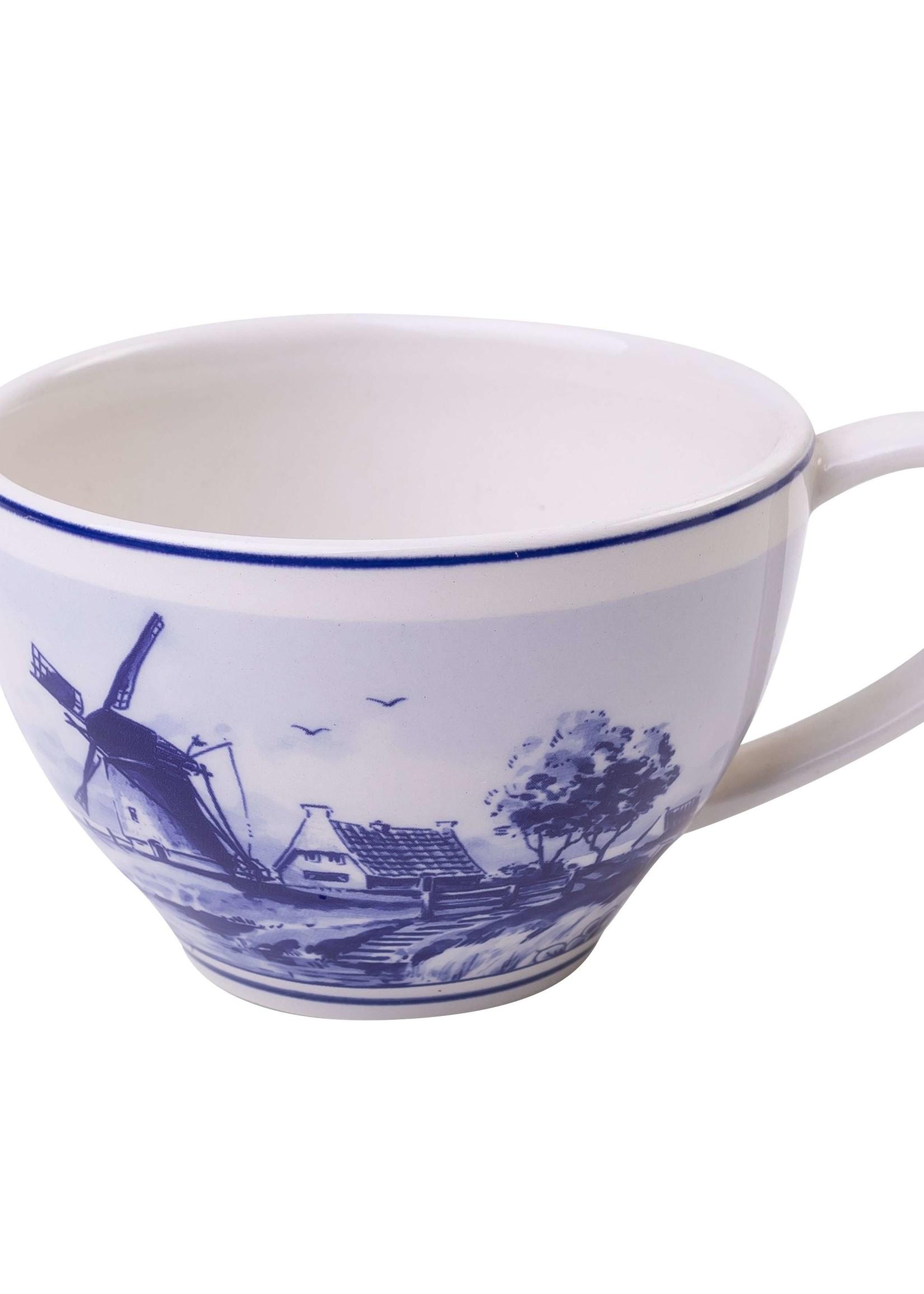 Delfts Blauwe Thee Mok met een Holland Landschap Met Windmolens