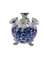 Delft Blue Tulip Vase on Legs, Flower Design, Large