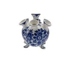 Delfts Blauwe Tulpen Vaas met Pootjes, Bloemen Motief, Groot