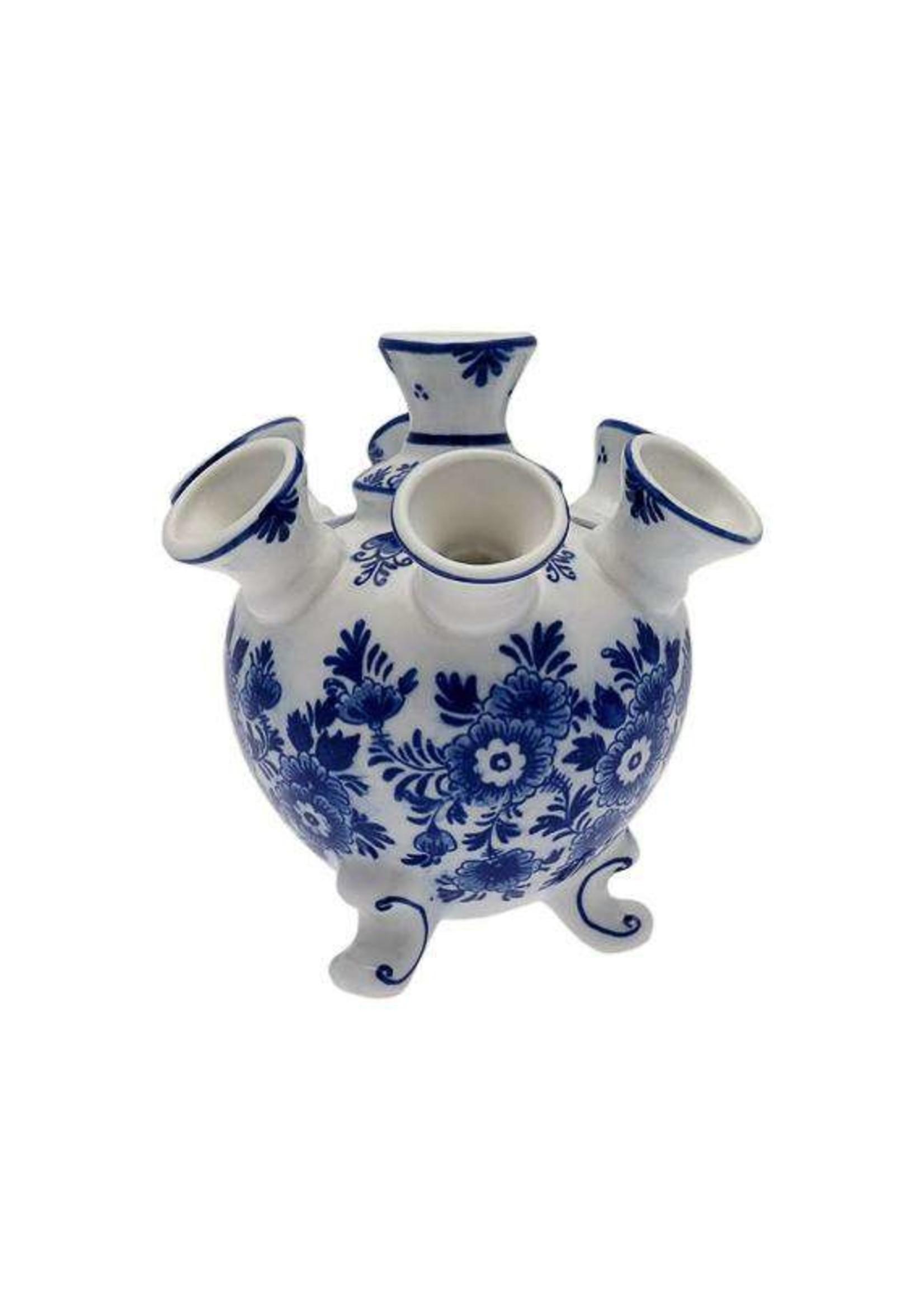 Delft Blue Tulip Vase on Legs, Flower Design, Small