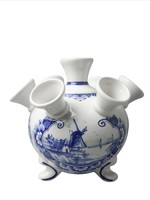 Heinen Delfts Blauw Delft Blue Tulip Vase on Legs, Landscape with Windmill Large