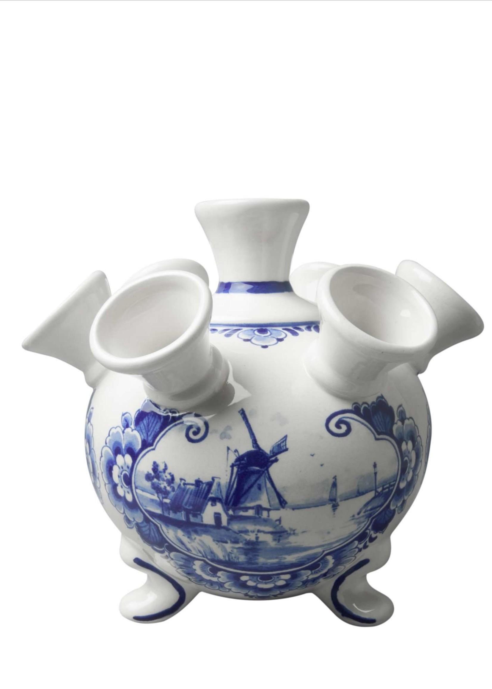 Heinen Delfts Blauw Delfts Blauwe Tulpen Vaas met Pootjes, Landschap met Windmolen, Groot