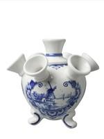 Heinen Delfts Blauw Delft Blue Tulip Vase on Legs, Landscape with Windmill Small