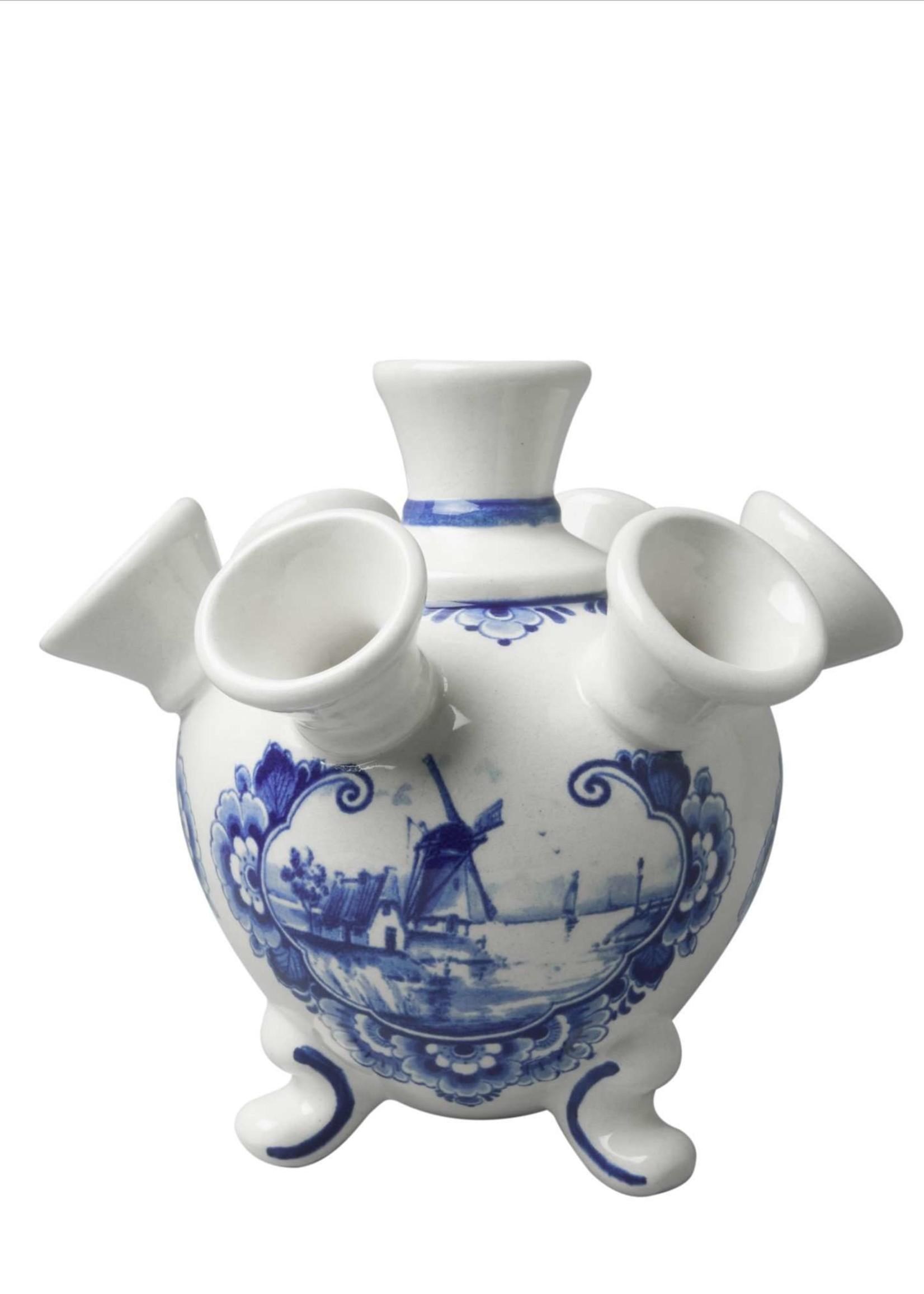 Heinen Delfts Blauw Delfts Blauwe Tulpen Vaas met Pootjes, Landschap met Windmolen, Klein
