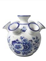 Heinen Delfts Blauw Delfts Blauwe Tulpen Vaas, Bloemen Motief, Groot