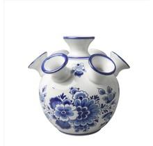Delfts Blauwe Tulpen Vaas, Bloemen Motief, Groot