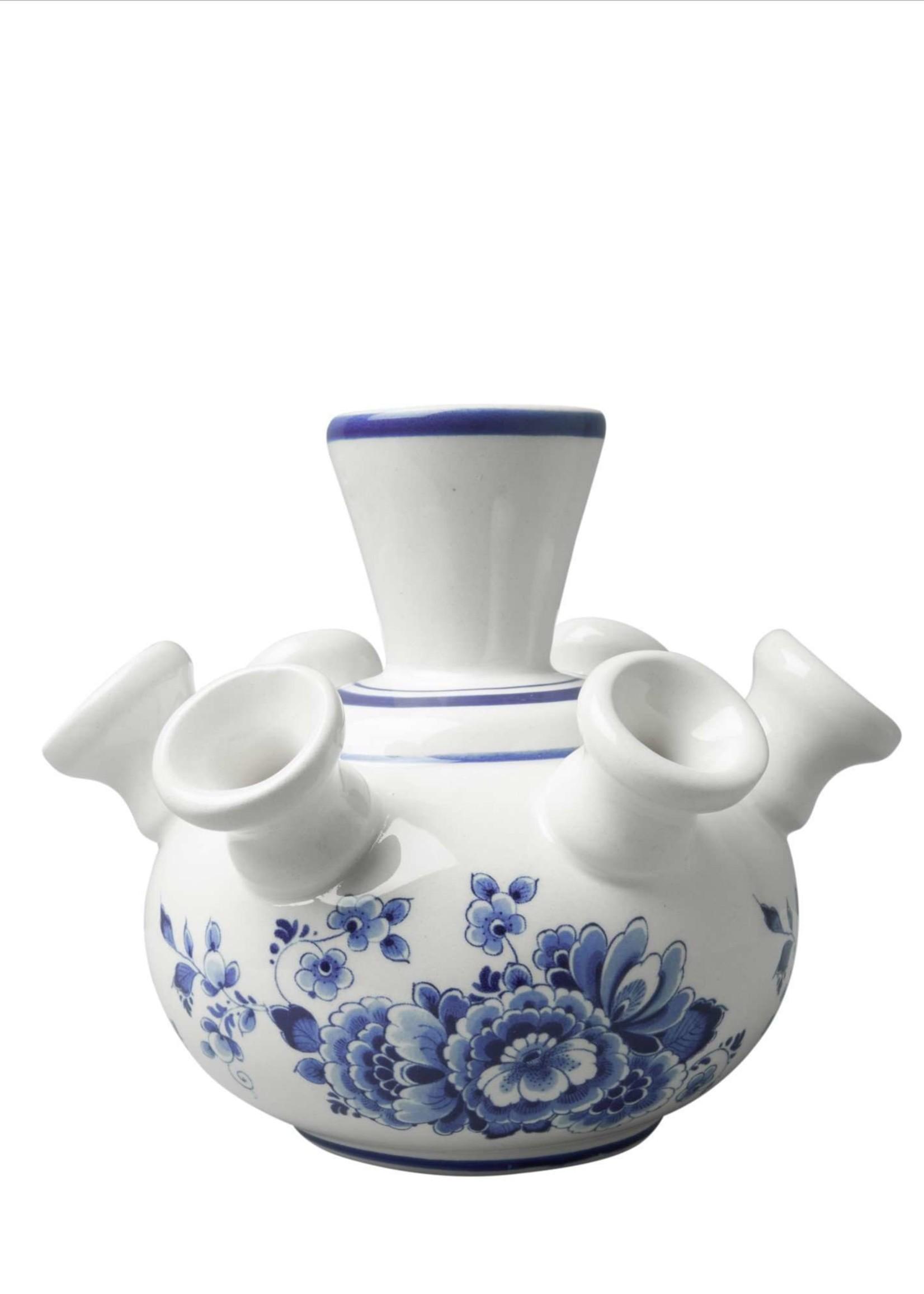 Heinen Delfts Blauw Delfts Blauwe Tulpen Vaas, Bloemen Motief, Klein