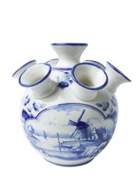 Heinen Delfts Blauw Delfts Blauwe Tulpen Vaas, Windmolen Design, Groot
