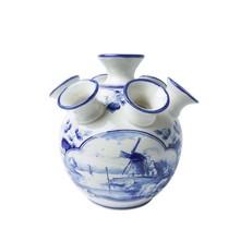 Delft Blue Tulip Vase, Windmill Design, Large