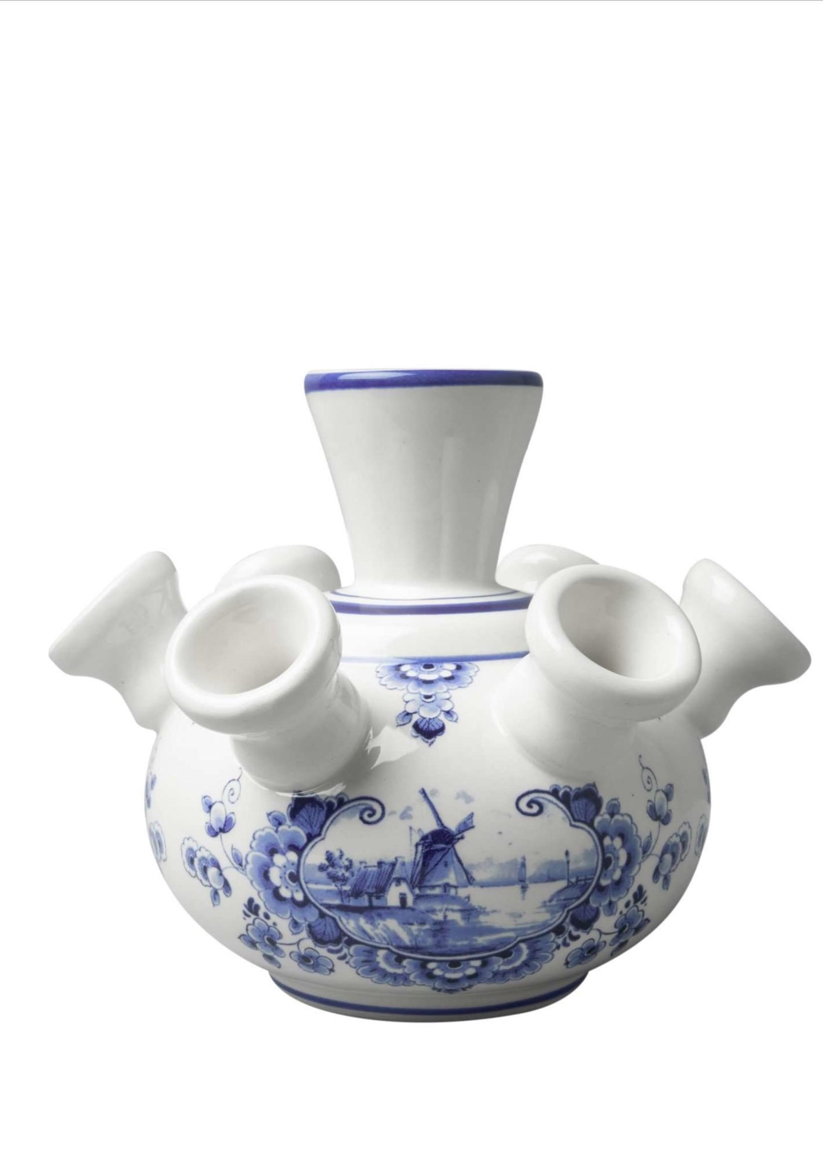 Heinen Delfts Blauw Delfts Blauwe Tulpen Vaas, Windmolen Design, Klein