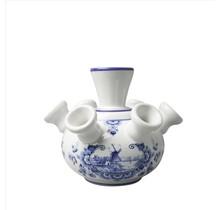 Delft Blue Tulip Vase, Windmill Design, Small