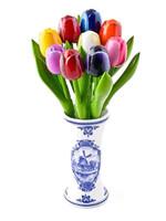 Heinen Delfts Blauw Delft Blue Vase with 9 Small Wooden Tulips
