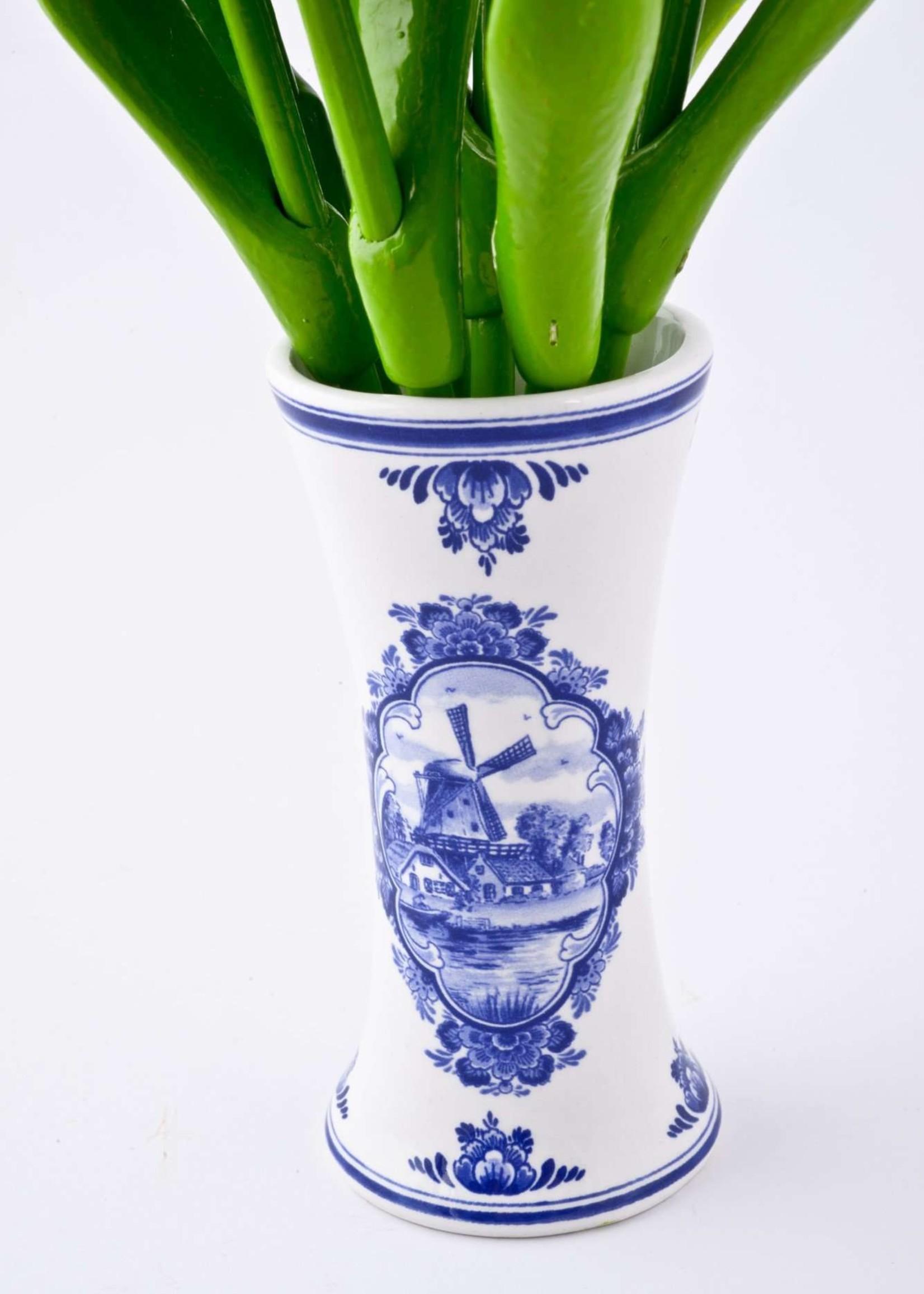 Heinen Delfts Blauw Delfts Blauwe Vaas met 9 Kleine Houten Tulpen