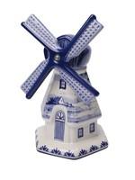 Heinen Delfts Blauw Delfts Blauwe Windmolen met een Hollands Landschap Beschildering, Groot