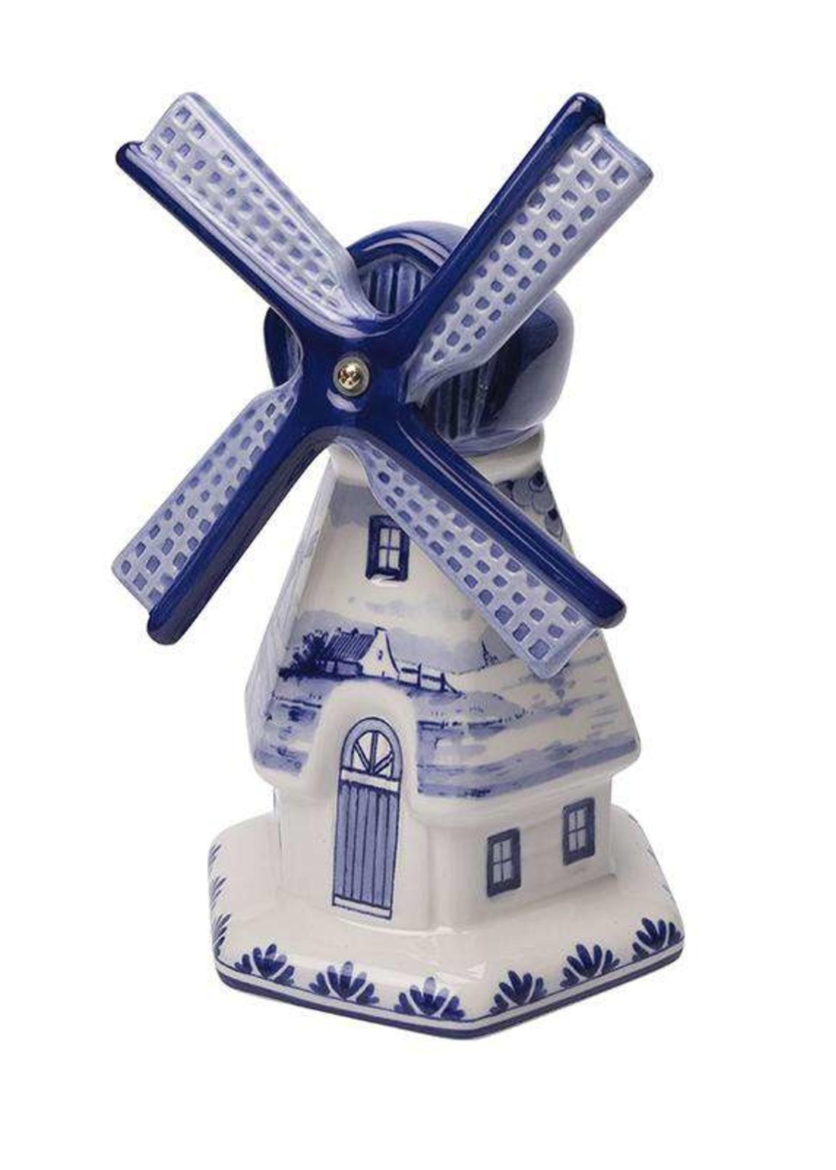 Heinen Delfts Blauw Delft Blue Windmill with a Dutch Landscape Drawing, Large