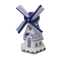 Delft Blue Windmill with a Dutch Landscape Drawing, Large