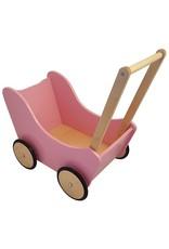 Houten Poppenwagen Roze/Blank