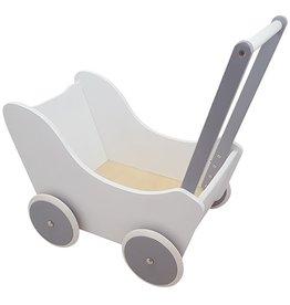 Houten Poppenwagen Wit/Zilver
