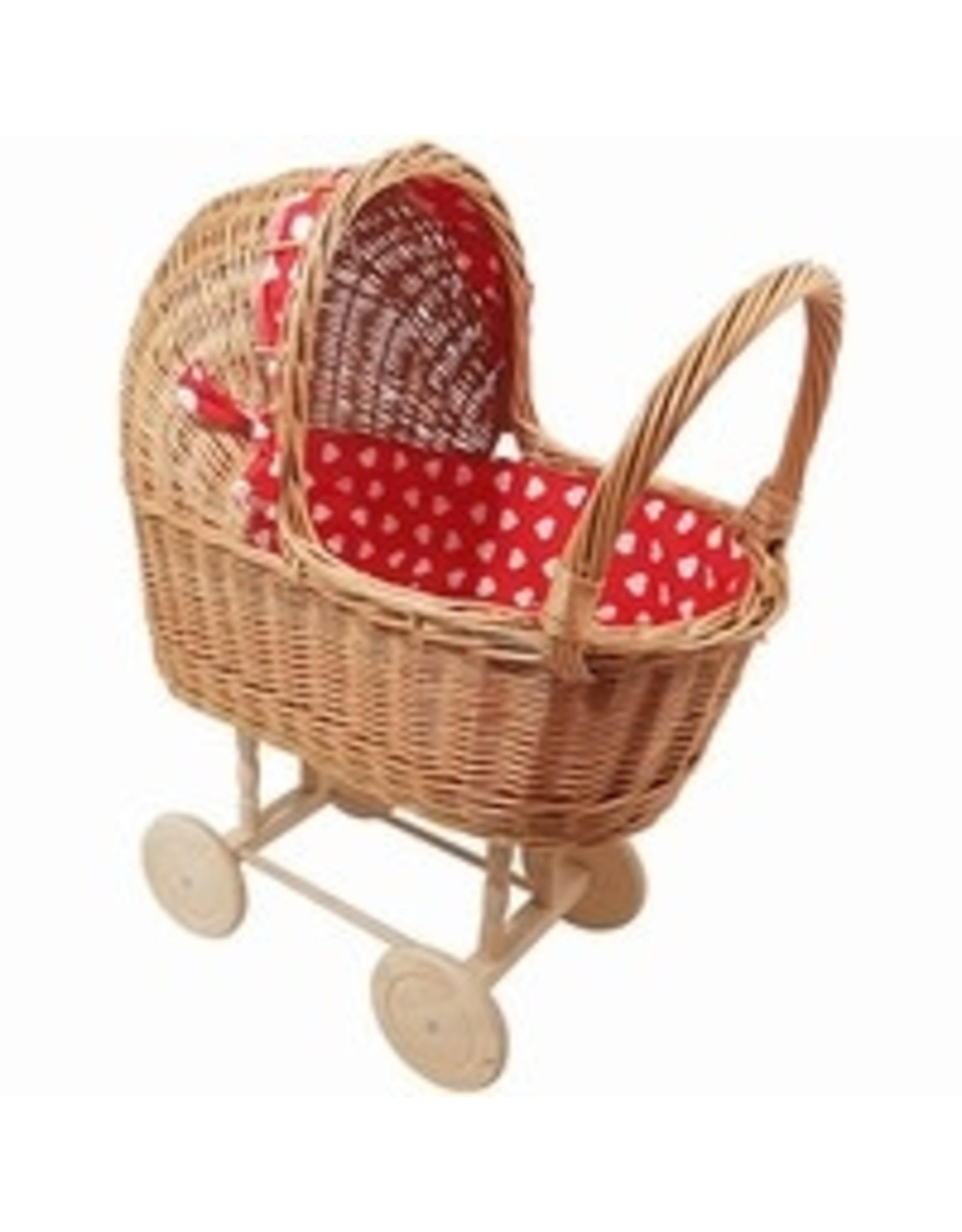 Rieten Poppenwagen Rood met Hartjes