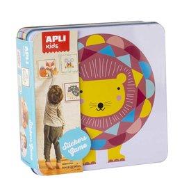 """APLI Stickerkaarten in blik """"Leeuw"""""""