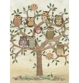 "BugArt Wenskaart ""Owl Family Tree"""