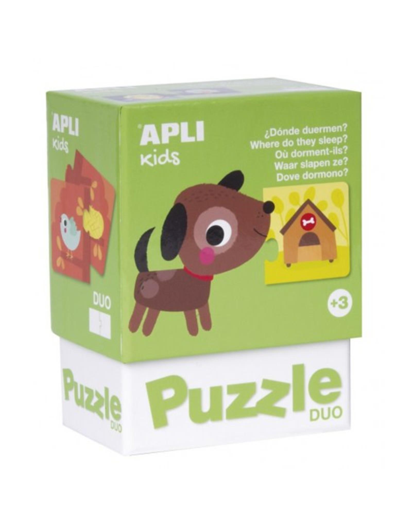 """APLI Duo Puzzels """"Waar slapen ze?"""""""
