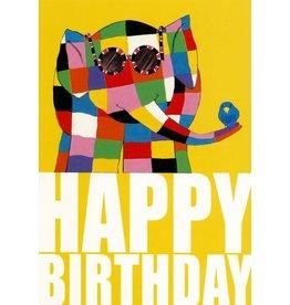 """Wenskaart Elmer """"Happy Birthday Glasses"""""""