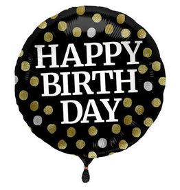 Glossy Black 'Happy Birthday' Folie Ballon