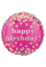 """Happy Birthday"" Pink & Dots Folie Ballon"