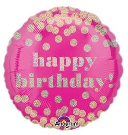 """Happy Birthday"" Pink & Dots Folie Ballon"