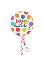"""Happy Birthday"" Colorful Dots Folie Ballon"