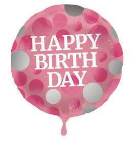 """Happy Birthday"" Glossy Pink Folie Ballon"