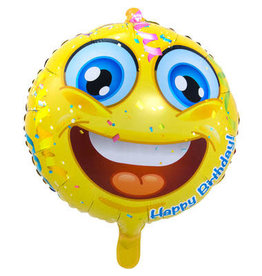 """Happy Birthday"" Emoticon Folie Ballon"