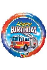 """Happy Birthday"" Fire Truck Folie Ballon"