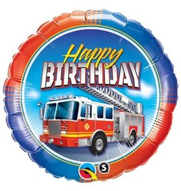 """Happy Birthday"" Fire Truck Folie Ballon"