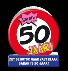Wenskaart - 50 jaar Sarah verkeersbord