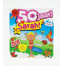 Wenskaart - 50 jaar Sarah Cartoon