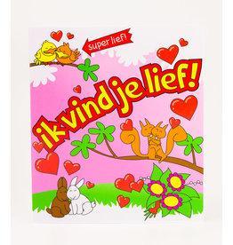 Cartoon Wenskaart - Ik vind je lief!