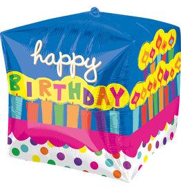 """""""Happy Birthday"""" Kaarsjes Cubez Folie Ballon"""