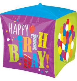 """Happy Birthday"" Cubez Folie Ballon"
